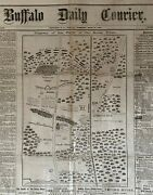 Civil War Seven Pines Battle Map Newspaper Huge Front Page Map Buffalo Ny 1862