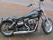 2 In 1 Exhaust Stainless Polished For Harley Davidson Street Bob Dyna Twin Cam