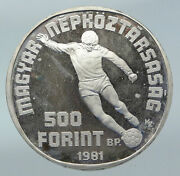 1981 Hungary 1982 Fifa World Cup Soccer Football Silver 500 Forint Coin I85526