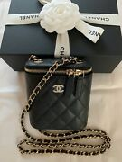 New Mini Vanity Case Clutch Wallet On Chain Black Caviar Leather 20s