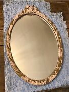 Antique French Louis Xvi Styled Painted Pink Chippy Gesso Framed Mirror