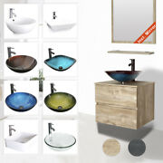24 Bathroom Vanity Glass Ceramic Sink Combo Wall Mounted 2 Drawers Cabinet Set