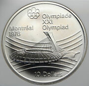 1976 Canada Large Queen Elizabeth Ii Olympics Montreal Silver 10 Coin Ngc I85358
