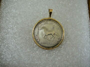 Australia 2002 Year Of The Horse 1/2 Ounce Silver Coin W/14k Yellow Gold Bezel