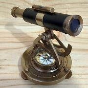 Alidade Level Telescope Leather Brass With Compass Marine