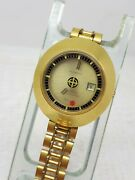 Vtg Zodiac Automatic Mystery Yellow Dial Rare Watch Swiss Ladies Date Gold Plate