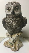 Vtg Mid Century Perseo Italy Pottery Majolica Owl Sculpture 10 Amazing Detail