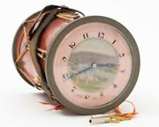 Antique Drum Swiss Made Clock And Music Box Painted With Keys 3-7/8 T X 2-3/4 D