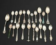 Lot Of 18 Sterling Silver Collector Souvenir Spoons Mexico Canada Us Europe 245g