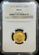 1914 Great Britain 1/2 Sovereign Gold Coin Ngc Ms 63
