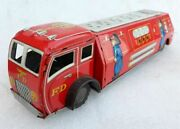 Old Vintage F.d. Friction Toy Fire Brigade Vehicle Li-tho Tin Toy Collectible