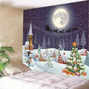 Beautiful Christmas Village 3d Wall Hang Cloth Tapestry Fabric Decorations Decor