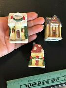 Lot Of 3 Small Christmas Village Houses City Hall, Station, And Hotel, 2.5