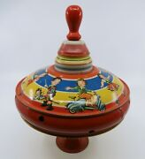 Vintage Made In U.s. Zone Germany Tin Litho Toy Top
