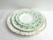 3 Pc Royal Crown Derby Green Maple Leaf Dinner Lunch And Bread/butter Plates