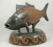 X-lg Ceramic/pottery Fish W Stand Mexican Fine Folk Art Initialed Collectible 1