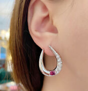 Ruby And Diamond Crescent Hoop Earrings In 18k White Gold - Hm2119