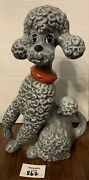 Ceramic Poodle Tall 10 In Mcm Large Dog Figurine Collar Paw Up Tail
