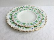 2 Pc Royal Crown Derby Green Maple Leaf Lunch And Bread/butter Plates 1077