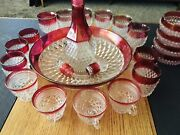 Mid-century Modern Cranberry And Clear Diamond Point Crystal Goblets Lot Of 23