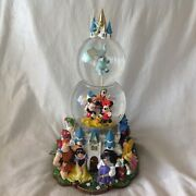Disney Castle Multi Character Musical Spin Figurine Lit Up Double Snowglobes-mib