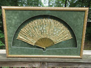 Giant Antique Vintage Framed Ladys Hand Fan Painted Lace 36 X 23 Framed Matted