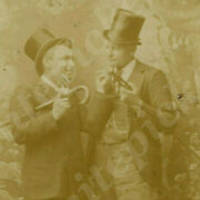 A8 Photo Cabinet Card 1890's Handsome Men Tophat Friendly 384a