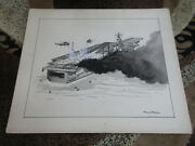Pierre Mion Original Print Drawing Usn Navy Carrier Jets Helicopter Fire And Smoke