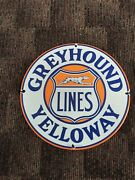 Greyhound Yelloway Lines Porcelain Sign