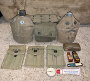 Us Army Field Belt 2 Canteens And First Aid Pouch Avery 1945 Gear Knife Compass