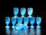 Set Of Ten Antique Blue Baccarat Style Bamboo Swirl Tall Water Goblet Glass.