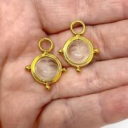 14k Yellow Gold Medium Man In The Moon Moonstone Earring Charms Enhancers