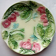 French Majolica Plate Signed Onnaing 3 Pink Stawberries Green Leaves