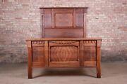 Antique Eastlake Victorian Burled Walnut Full Size Bed, Circa 1880s