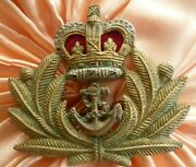Royal Naval Officer's Cap Badge Qc All Brass 2 Lugs 2 Parts Antique Org
