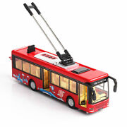 1/36 Red Alloy Diecast Trolley Bus Tram Bus Vehicles Car Toy W Light And Sound