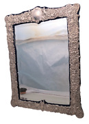 English Palace Size Sterling Silver Mirror With Ornate Border