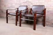 Maurice Burke For Pozza Mahogany And Leather Safari Chairs Pair