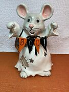 New Blue Sky Clayworks Heather Goldminc Halloween Mouse Ghost Boo Tealight 🎃