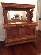 Attributed To R.j. Horner Carved Winged Griffin /gargoyle Sideboard With Mirrorandnbsp