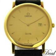 Omega De Ville 7310.11 Yg Leather Menand039s Qz Gold Dial From Japan [e0819]