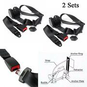 2 Sets Automatic Retractable 3 Point Safety Seat Belt Lap Seatbelt For Car Truck