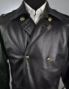 Rare Vintage Versace Mens Lambskin Leather Trench Coat 24k