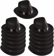 Funny Party Hats Black Fedora Gangster Hat Costume Accessory - Pack Of 12