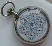Wold Time Six Zones Pocket Watch Open Face Nickel Chromin Case Load Manual