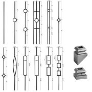 Ash Grey - Modern Aalto Iron Balusters - Hollow Wrought Iron - Stair Parts