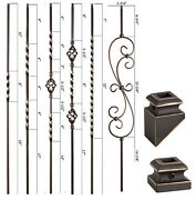 Oil Rubbed Copper - Twist And Basket Iron Balusters - Solid Wrought Iron