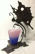 Incredible Vtg Deco Wrought Iron Butterfly Dragonfly Lamp Schneider Glass Shade