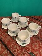 Set 6 Vintage Shenango China Cups And Saucers Daisy Flower Design Resturant Ware
