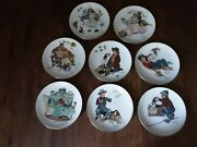 Norman Rockwell Four Seasons Set 8 Gorham Limited Collector Plates Series 1971